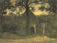 Piet Mondriaan - Gabled farmhouse façade with tree, fence and gateposts in front - A301 - Piet Mondrian, catalogue raisonné.jpg