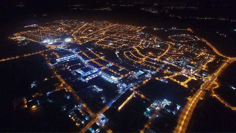 צילום אווירי של נתיבות - לילה