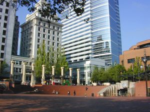 Pioneer Courthouse Square in downtown Portland