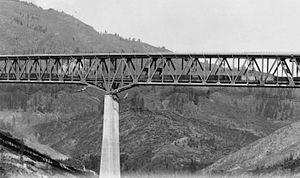 Shasta Dam - The Pit River Bridge, which was built to carry Interstate 5 and the Southern Pacific Railroad over Shasta