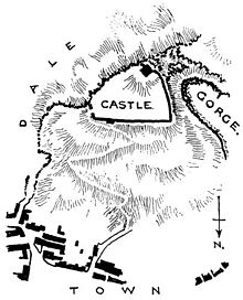 A plan showing Peveril Castle in relation to the settlement of Castleton. The triangular castle sits on a hill south of Castleton.