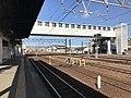 Platform of Nishi-Karatsu Station and Rifurebashi Bridge.jpg