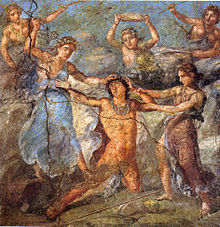 Ancient Roman wall painting from House of the Vettii in Pompeii, showing the death of Pentheus, as portrayed in Euripides's Bacchae (Source: Wikimedia)