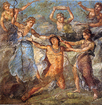 Jesus in comparative mythology - First-century AD Roman wall painting from the House of the Vettii in Pompeii showing Dionysus's enemy Pentheus being torn to pieces by the maenads, Dionysus's female followers, the climactic scene of Euripides's Bacchae