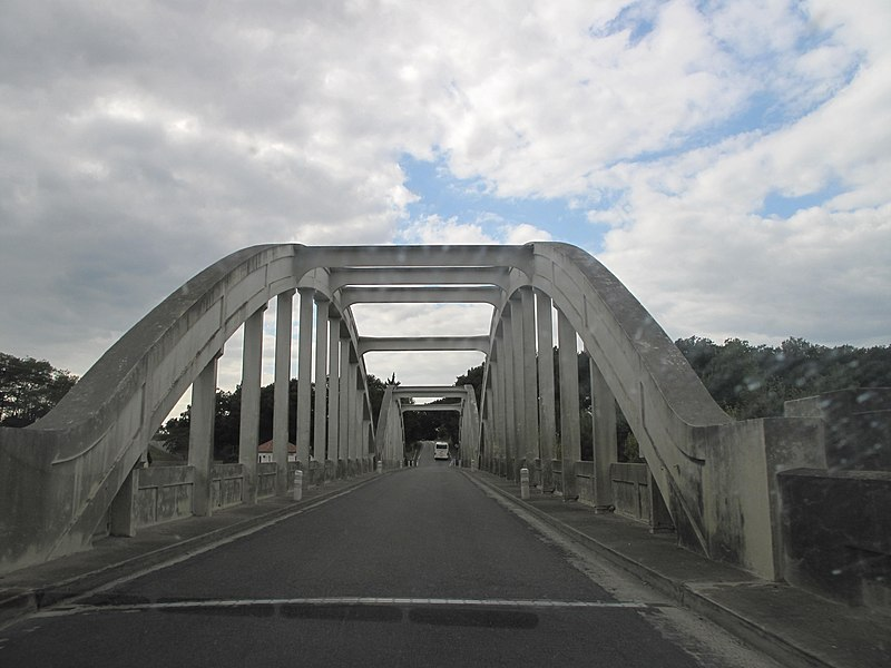 The bridge of la Marqueze on the river adour, near the village of Josse (Landes, France). Photo taken looking to west