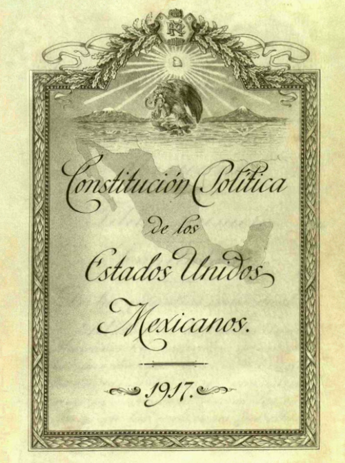 Original inside cover of the Political Constitution of the United Mexican States Portada Interior Original de la Constitucion de 1917.png