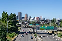 Downtown Portland, viewed from over Interstate 5