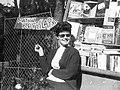 Portrait, lady, shades, smoking, ad, cigarette, sunshine, book seller Fortepan 19060.jpg