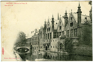 Brugse Vrije - Postcard of the Maison du Franc II (Excelsior Series 11, No. 13, Albert Sugg a Gand; ca. 1905).