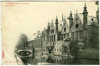 Brugse Vrije - Postcard of the Maison du Franc II (Excelsior Series 11, No. 13, Albert Sugg a Gand; ca. 1905).