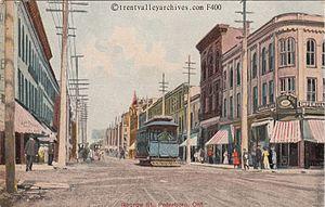 Streetcar services in Peterborough, Ontario - A Peterborough streetcar on George Street.