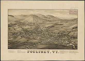 Poultney (town), Vermont - Print of Poultney from 1886 by L.R. Burleigh with list of sights