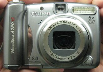 Canon PowerShot - Front view of Canon PowerShot A720 IS.