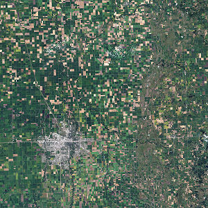 Satellite image of farming in Minnesota.