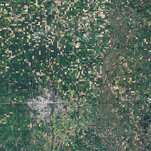 Satellite image of farming in Minnesota.