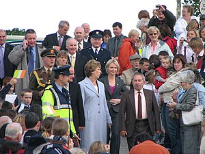 Flight of the Earls - President of Ireland Mary McAleese arrives to unveil a statue depicting The Flight of the Earls at Rathmullan on 4 September 2007.