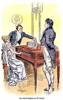 Illustration en couleur : Elizabeth, assise, le colonel tournant les pages de la partition, fait face à Darcy