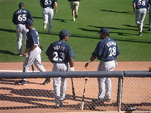 Rickie Weeks Jr. - Rickie Weeks and Prince Fielder at Brewers spring training in 2005
