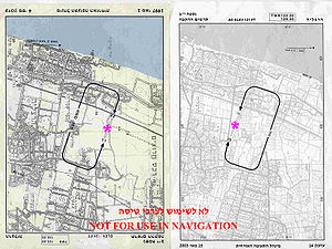 "Error - Herzliya Airport (Israel) runway location and traffic pattern chart (left) was erroneously printed as a result of ""black layer"" 180° misplacement. The corrected chart is on the right."