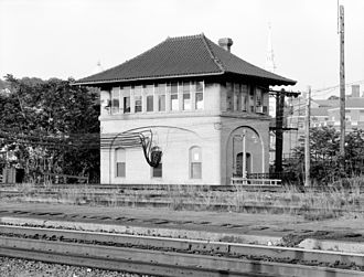 New York, New Haven and Hartford Railroad - Promenade Street Tower, opened in 1909, controlled the eastern approaches to Providence Union Station. It operated into the Amtrak era, and was closed in 1986.