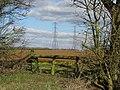 Pylons cross the fields south of Ewen - geograph.org.uk - 1747536.jpg