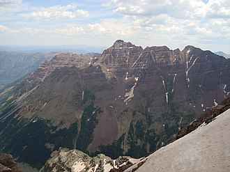 Pyramid Peak (Colorado) - Pyramid Peak as seen from Maroon Peak in 2009