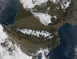 Pyrenees Mountains view from satellite.jpg