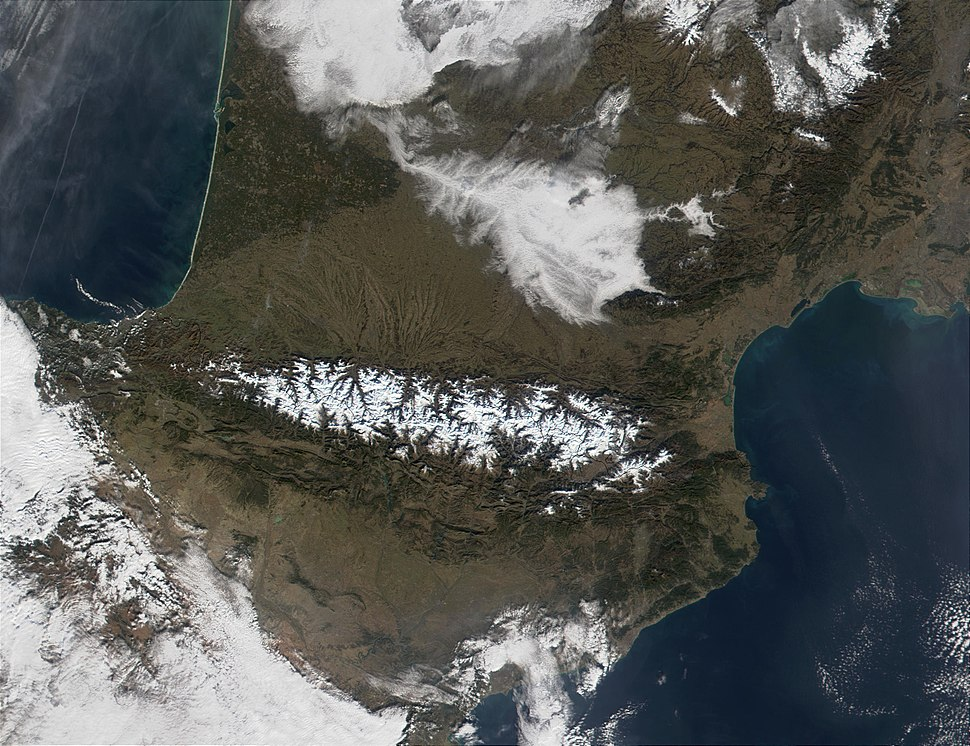 Pyrenees Mountains view from satellite