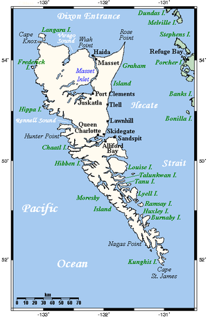 Moresby Island - Haida Gwaii, off the coast of BC. Moresby Island is the large southern island. Alaska is the next land to the north of this map.