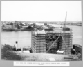 Queensland State Archives 3715 North main pier showing scaffolding round pier for rubbing down concrete surface Brisbane 2 November 1936.png