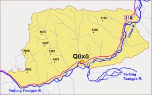 Qüxü County - Sketch map