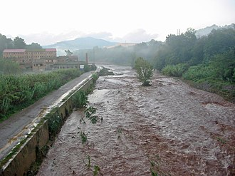 Ripoll (river) - The Ripoll in Sabadell during a flood, very common in spring, when the Mediterranean climate suffers torrential rains.