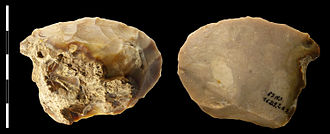 Zuffenhausen - Flint knappers of the Neanderthal Mousterian culture. Similarly shaped mammoth bone pieces at Hofacker's Brickyard, suggest an ancient battleground. This particular set of stones was found in the Grotte du Noisetier in the French department of Hautes-Pyrénées)