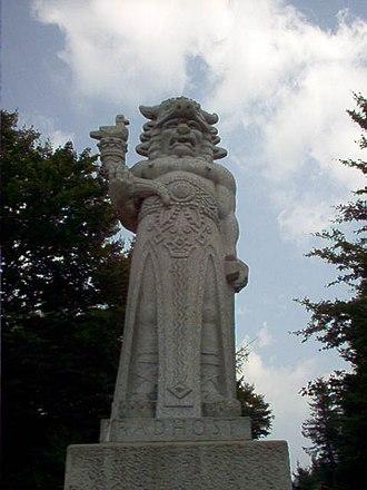 """Radegast (god) - Statue of """"Radegast"""" on a Silesian mountain Radhošť"""