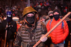 Radically oriented masked protesters armed with shovels, Dynamivska str., Euromaidan protests, events of Jan 19, 2014.jpg