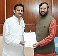 Rajendra Shukla meeting the Minister of State for Information and Broadcasting (Independent Charge), Environment, Forest and Climate Change (Independent Charge) and Parliamentary Affairs, Shri Prakash Javadekar, in New Delhi.jpg