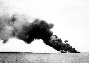 Red Sea Flotilla - Ramb I on fire and sinking