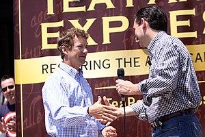 Tea Party Caucus - Senators Rand Paul (R) and Ted Cruz (R), both members of the Senate's informal Tea Party Caucus, address a Tea Party Express rally.