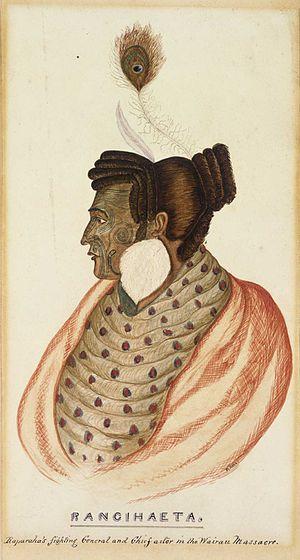 Te Rangihaeata - Te Rangihaeata, watercolour by R. Hall, c. 1840s
