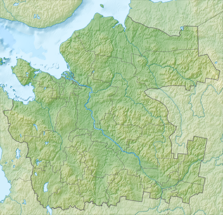 Relief Map Archangelsk Oblast mainland