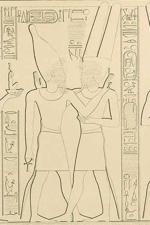 Takelot II - Takelot II (left) and Amun-Ra at Karnak