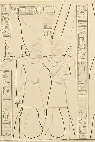 Takelot II - Takelot II (left) and Amun-Ra at Karnak