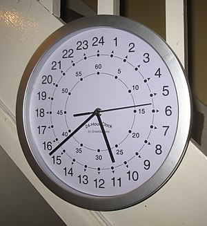 Clock face - A modern quartz clock with a 24 hour face