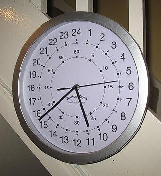 Clock face - A modern quartz clock with a 24 hour face
