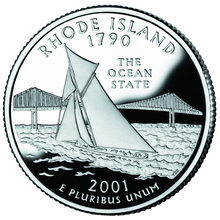 The Rhode Island state quarter, depicting a vintage sailboat sailing in front of the Claiborne Pell Newport Bridge