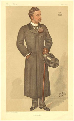 """Richard Curzon, 4th Earl Howe - """"South Bucks"""". Caricature by Spy published in Vanity Fair in 1896."""