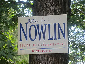 Rick Nowlin - Rick Nowlin campaign sign for the Louisiana House of Representatives near Goldonna in rural Natchitoches Parish