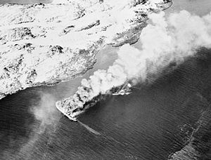 Rigel sinking, V-boat burning 1944.jpg