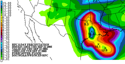 Example of a five-day rainfall forecast from the Hydrometeorological Prediction Center Rita5dayqpf.png