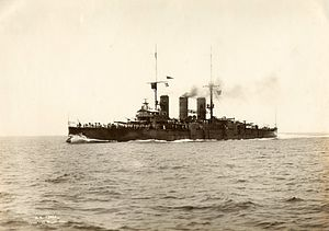 Italian cruiser Pisa - Pisa steaming at low speed in calm water, 15 May 1925